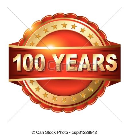 450x470 100 Years Anniversary Golden Label With Ribbon. Vector Illustration.