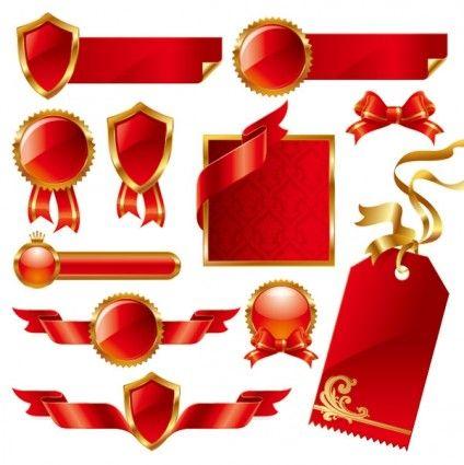 424x425 Colorido Origami Pacote Etiqueta Vector Ribbon Vector Ai