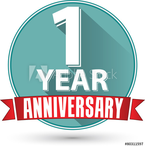 496x500 Flat Design 1 Year Anniversary Label With Red Ribbon, Vector Ill