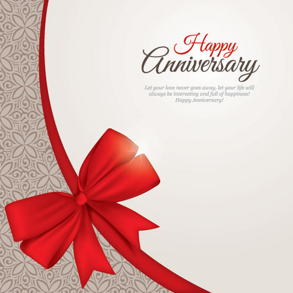570x570 Floral Pattern Anniversary Card With Ribbon