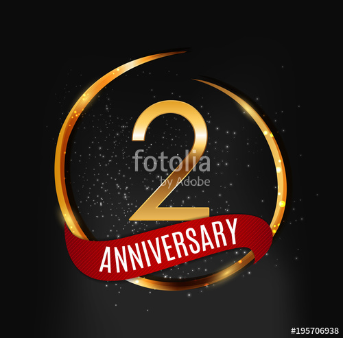 500x493 Template Gold Logo 2 Years Anniversary With Red Ribbon Vector