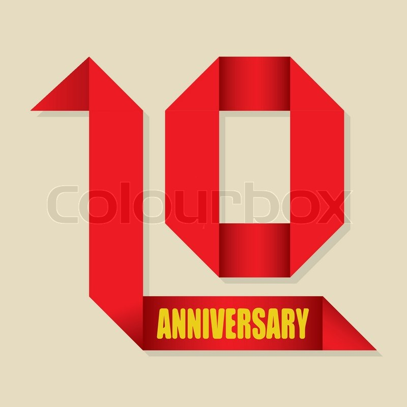 800x800 The Abstract Of 10 Years Anniversary Ribbon, Vector Illustration