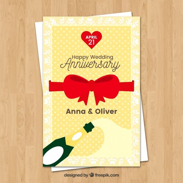 626x626 Wedding Anniversary Card Wirh Red Ribbon Vector Free Download