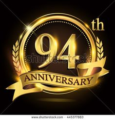 236x246 18th Golden Anniversary Logo With Ring And Red Ribbon. Vector