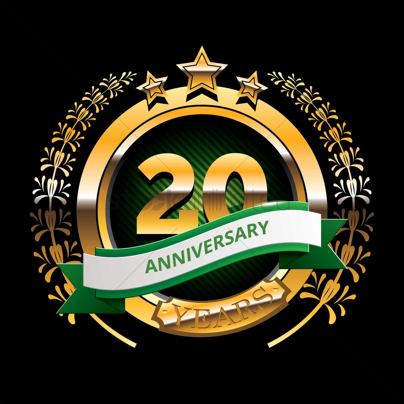 1300x1300 20 Years Anniversary Label With Ribbon Vector Image