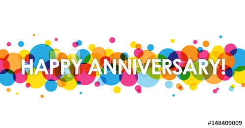 500x263 Happy Anniversary Vector Card With Colourful Circles Background