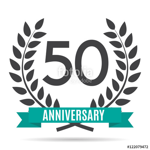 500x500 Template Logo 50 Years Anniversary Vector Illustration Stock