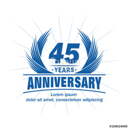 500x500 45 Years Design Template. Anniversary Vector And Illustration