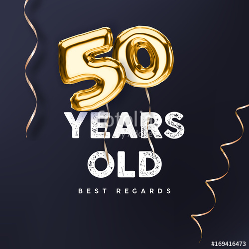 500x500 50 Years Old. Gold Balloon Number 50th Anniversary, Vector