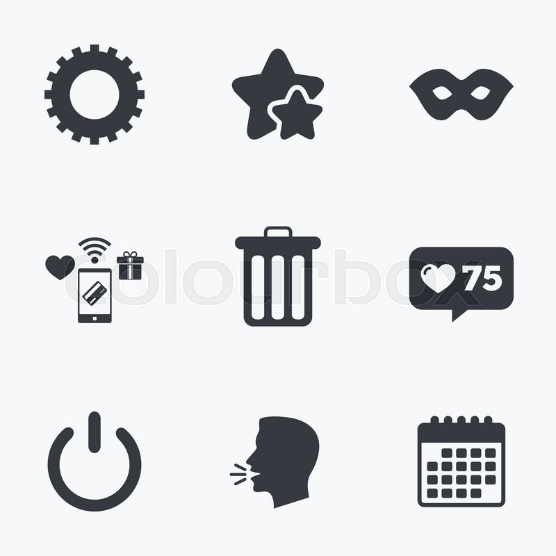 800x800 Anonymous Mask And Cogwheel Gear Icons. Recycle Bin Delete And