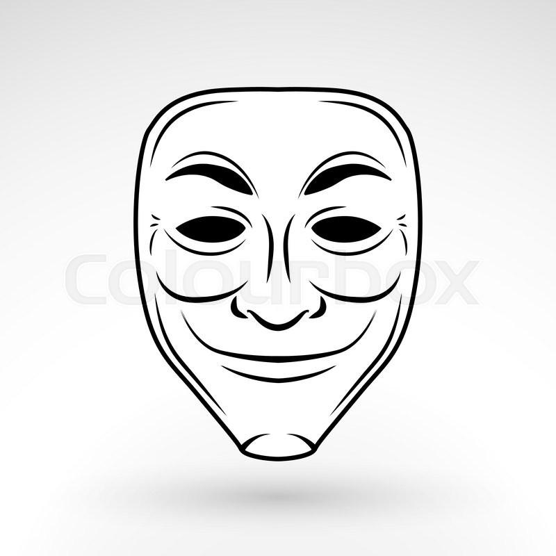 800x800 Anonymous Mask Vector Icon. Hacker Logo Design. Criminal