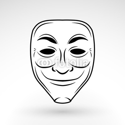 400x400 Anonymous Mask Vector Icon. Trickster Logo Template Concept
