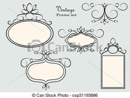 450x338 Antique Frames. Vintage Frame Set Vector. Antique Labels.