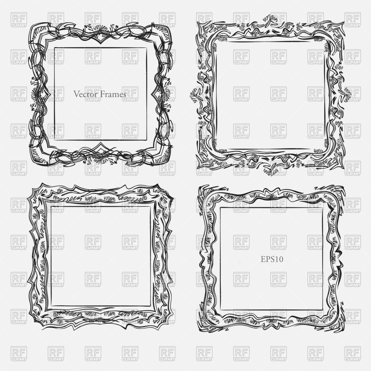 1200x1200 Antique Square Decorative Vintage Frame Vector Image Vector