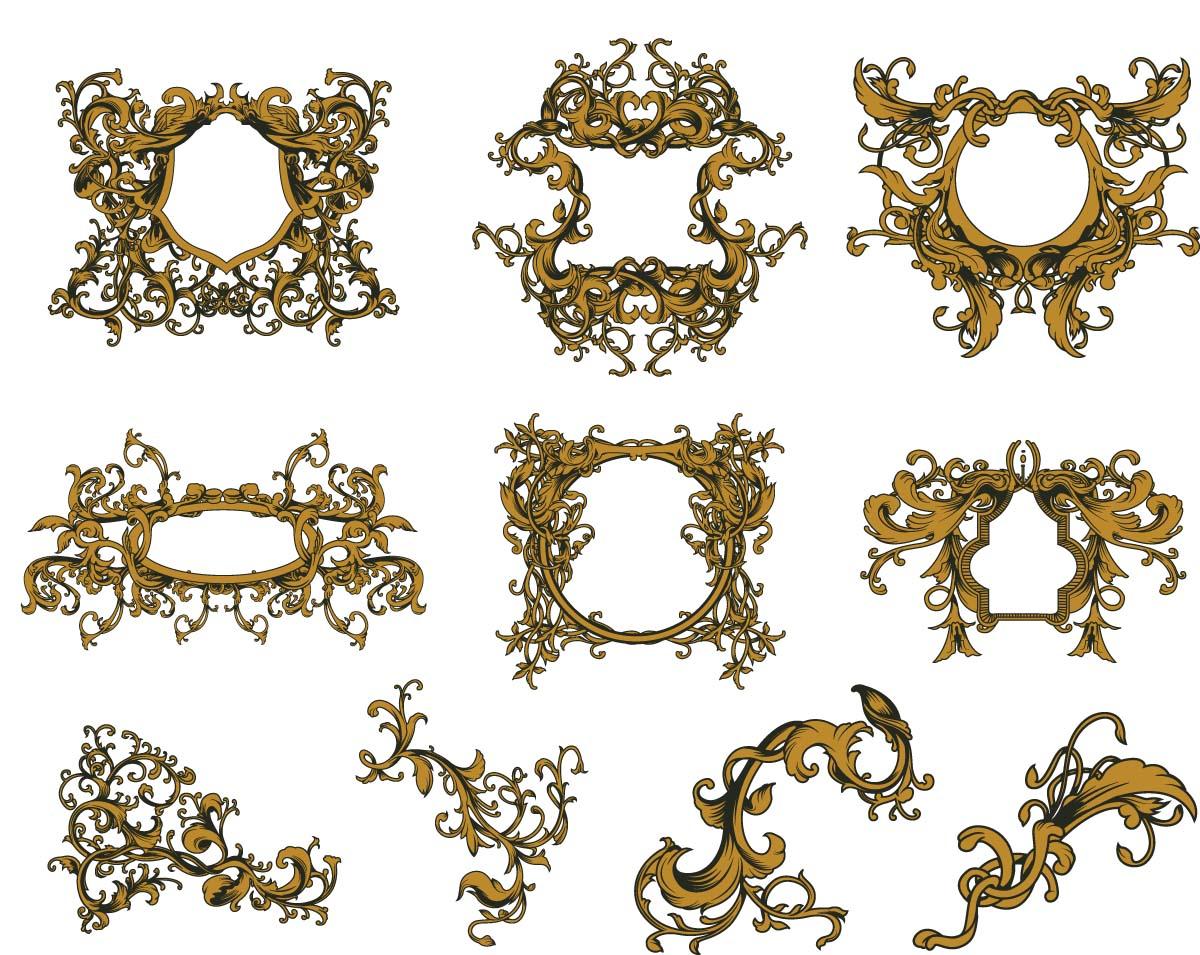 1200x955 Golden Vintage Ornate Frames Set Vector Free Download