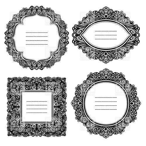500x500 Round, Square And Oval Blank Floral Antique Frames Vector Image
