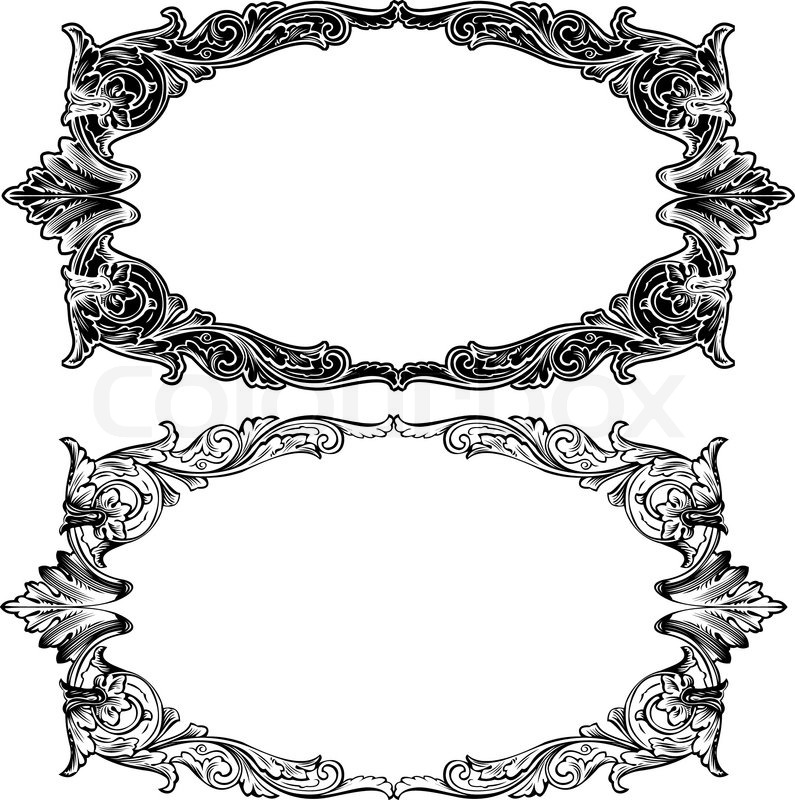 795x800 Two Antique Frame Engraving, Scalable And Editable Vector