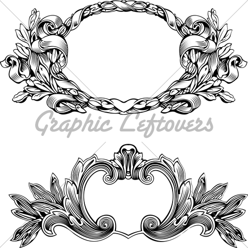 500x500 Antique Frame Engraving, Scalable And Editable Vector Ill... Gl