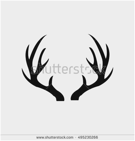 450x470 Deer Antler Vector Lovely Deer Antlers Isolated White Stock