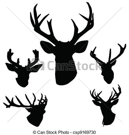 450x470 Deer Antlers Silhouette Art Vector Illustration On White.