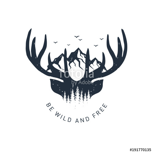 500x500 Hand Drawn Travel Badge With Deer Antlers And Mountains Textured