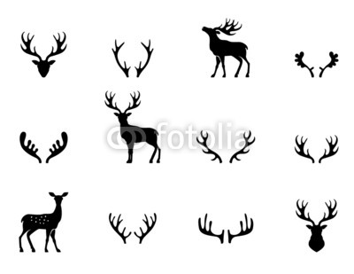 400x309 Set Of Antlers, Silhouette, Vector Poster Idf74086574