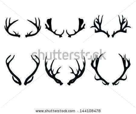 450x380 Silhouettes Of Deer Antlers Vector By Katarinaf, Via Shutterstock