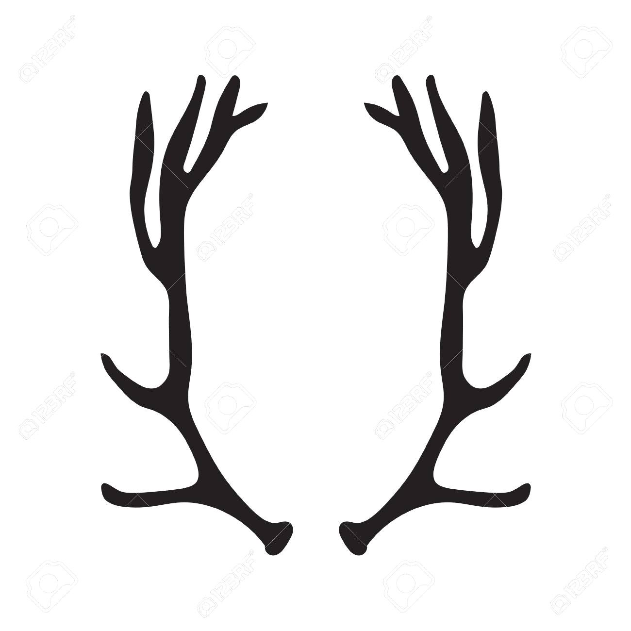 1300x1300 83603255 Black Silhouette Of Deer Antlers Vector Illustration 16