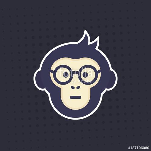 500x500 Ape, Smart Monkey In Glasses Vector Sticker, Print Stock Image