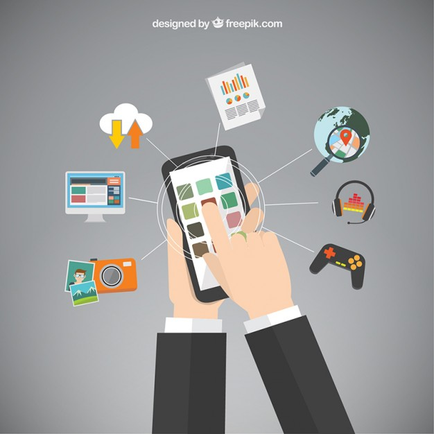 626x626 Mobile Phone Apps Vector Free Download