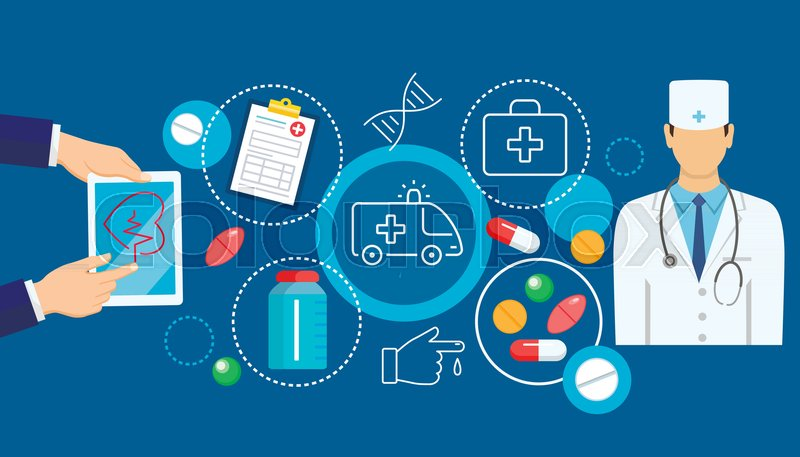 800x457 Online Medicine Banner With Flat Icons Of Digital Healthcare