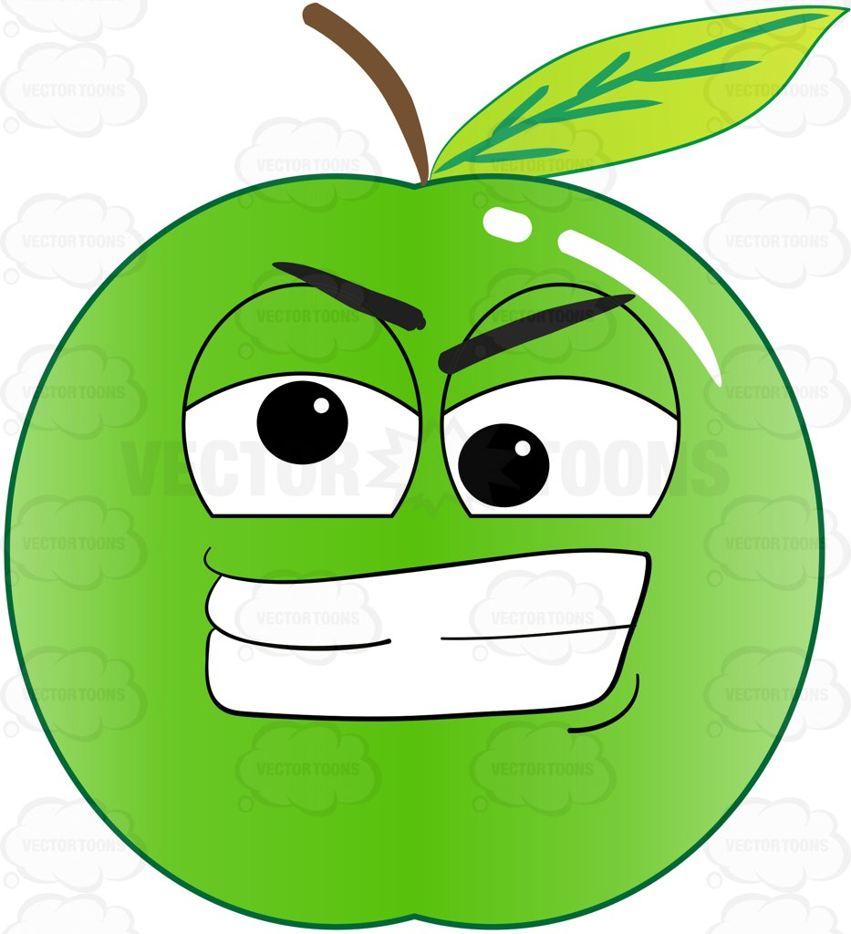 933x1024 Crazy And Frustrated Green Apple Emoji Clipart By Vector Toons