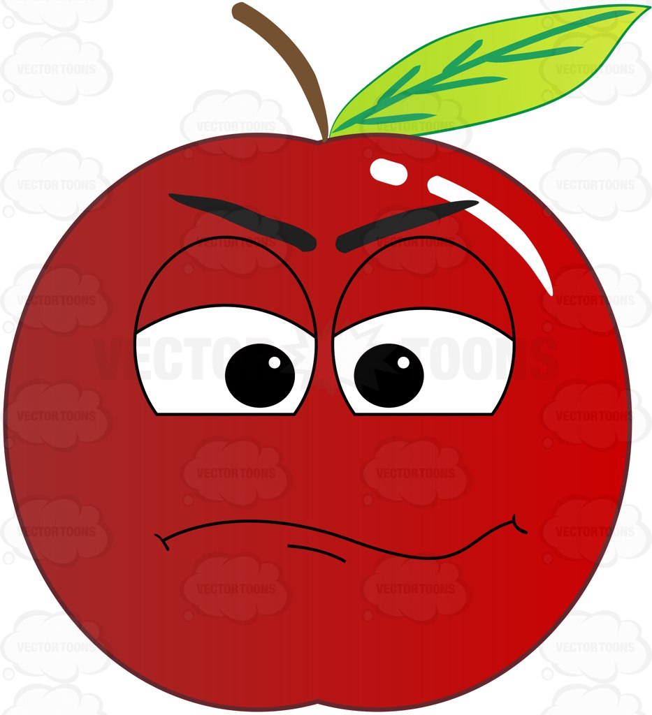 933x1024 Doubting Look On Red Apple Emoji Clipart By Vector Toons