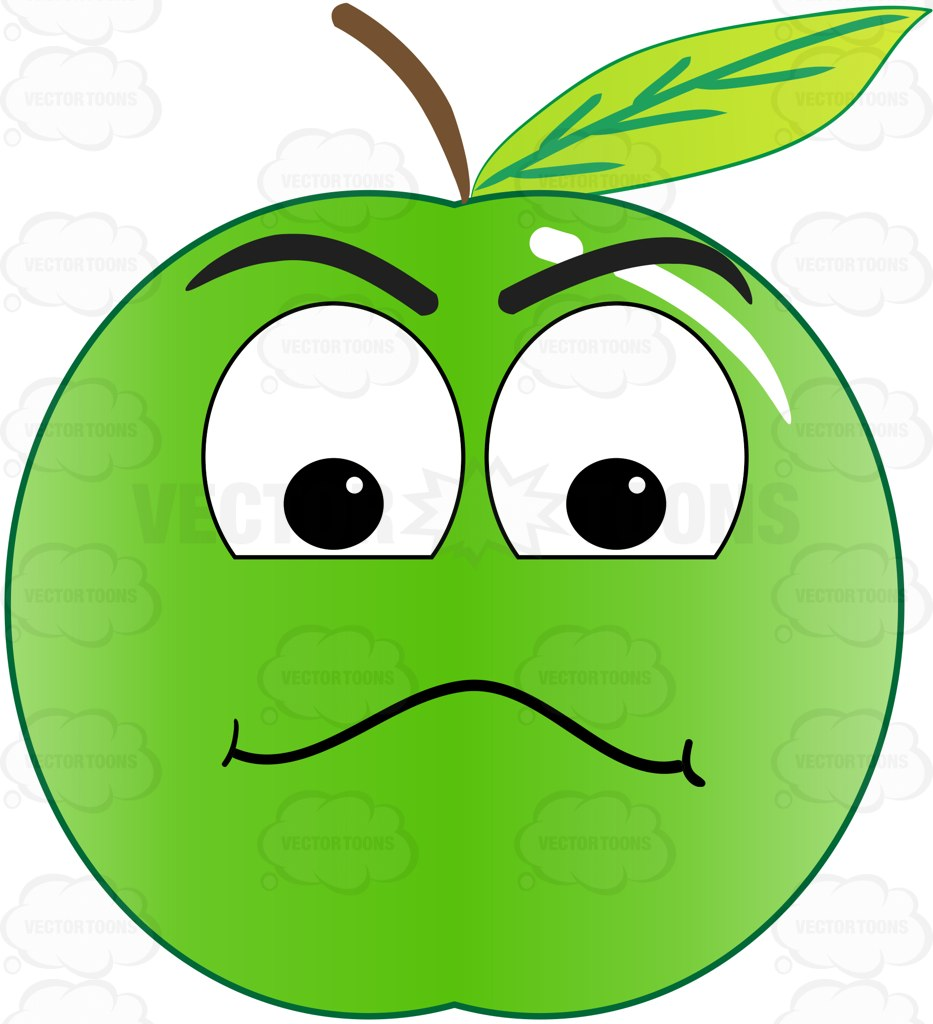 933x1024 Examining Look On Green Apple Emoji Clipart By Vector Toons
