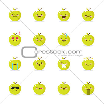 340x340 Image 6979066 Vector Green Apple Emoji Set. Funny Emoticons. From