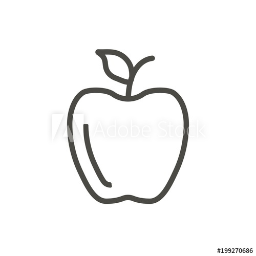 500x500 Apple Icon Vector. Outline Fruit , Line Apple Symbol.