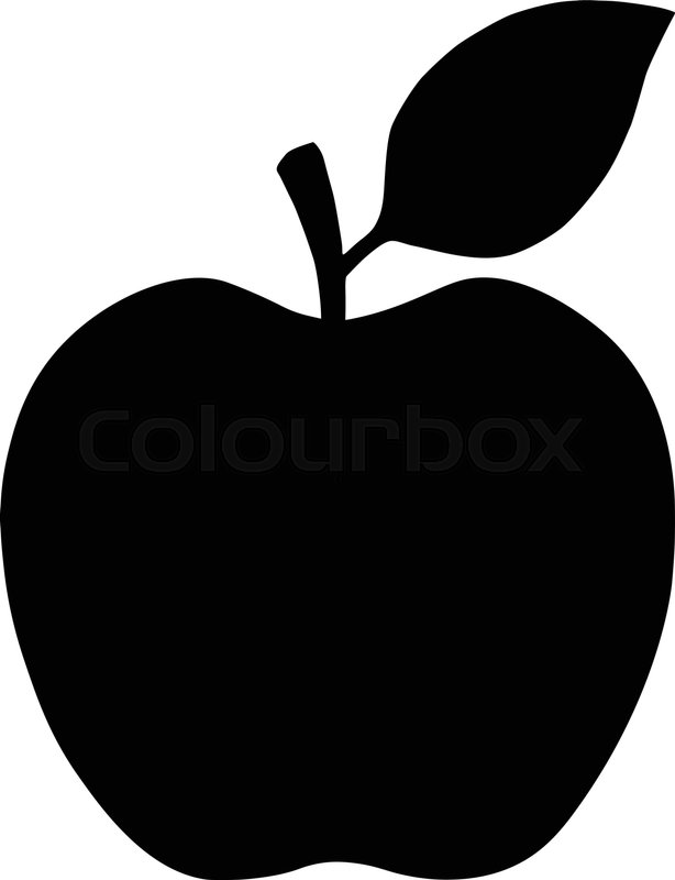 614x800 Apple Symbol. Black Silhouette Isolated On White. Vector Outline