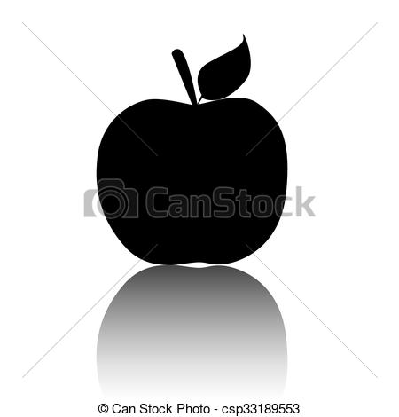 450x470 Apple. Vector Icon. Apple Icon. Black Vector Illustration With