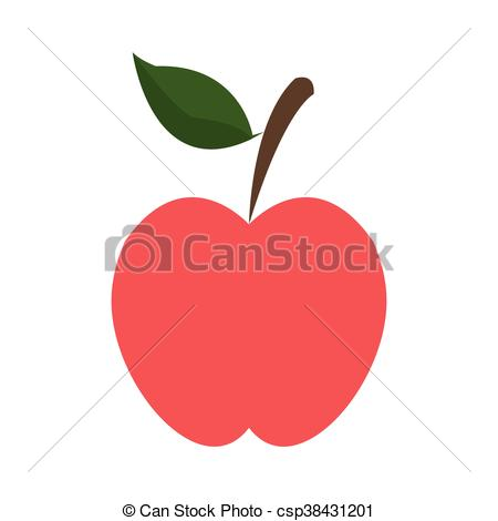 450x470 Flat Design Whole Apple Icon Vector Illustration.