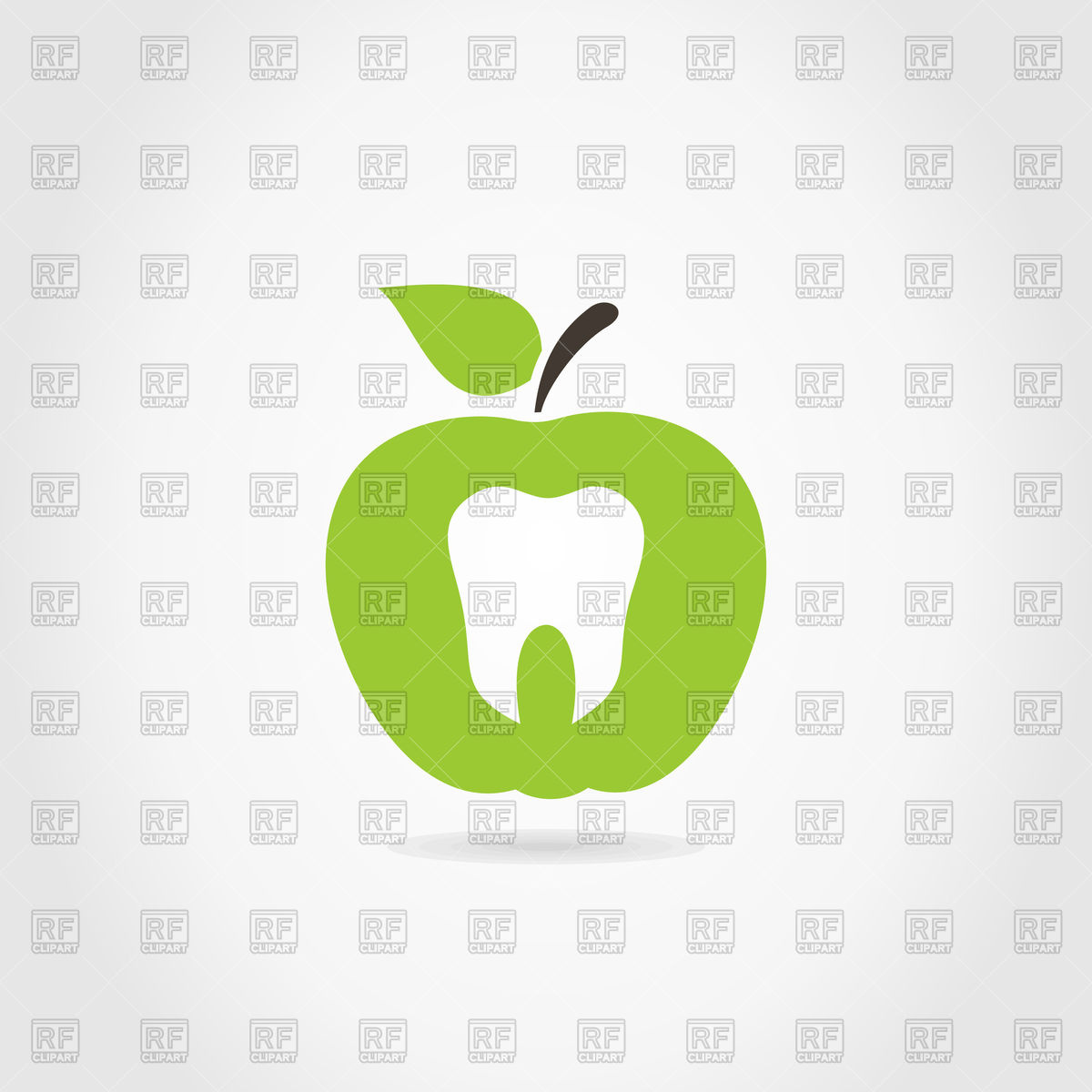 1200x1200 Green Apple Icon With Tooth Vector Image Vector Artwork Of