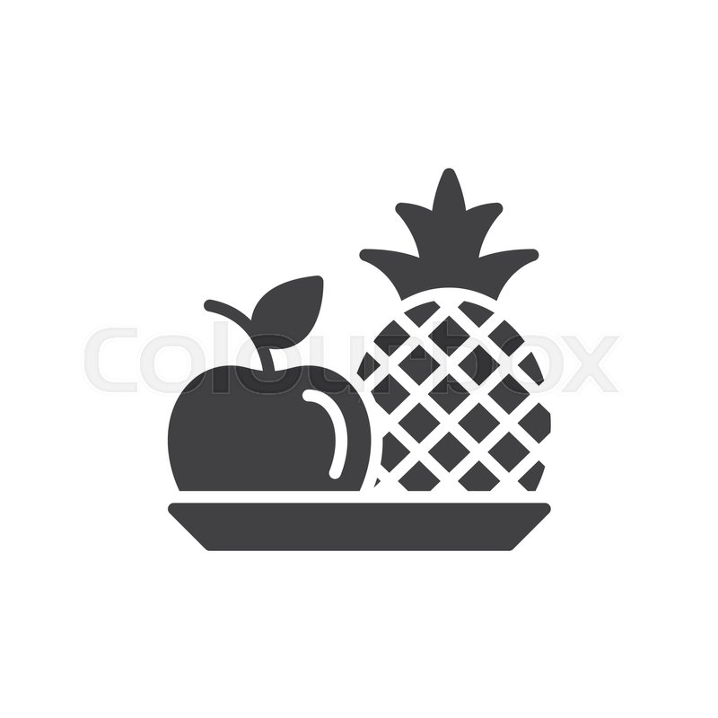 800x800 Pineapple And Apple Icon Vector, Filled Flat Sign, Solid Pictogram