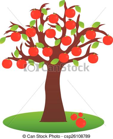 380x470 Apple Tree. Illustration Of Isolated Apple Tree On White Background.