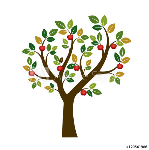 498x500 Color Apple Tree. Vector Illustration. Nature And Garden