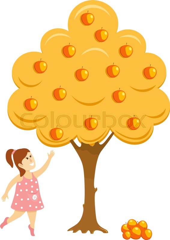 566x799 Girl Near The Apple Tree. Abstract Illustration Of A Little Girl