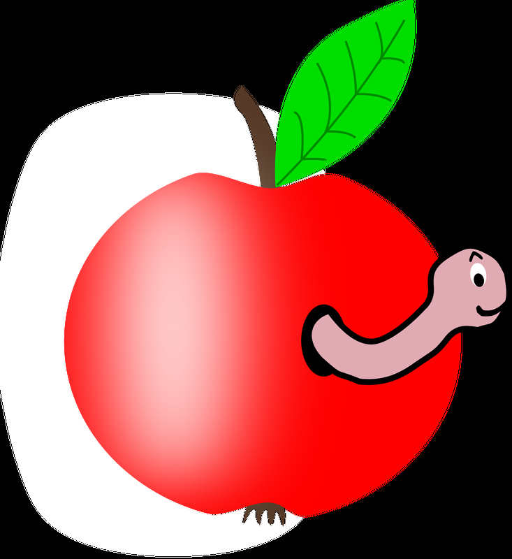 733x800 Worm In An Apple Vector Clipart Image