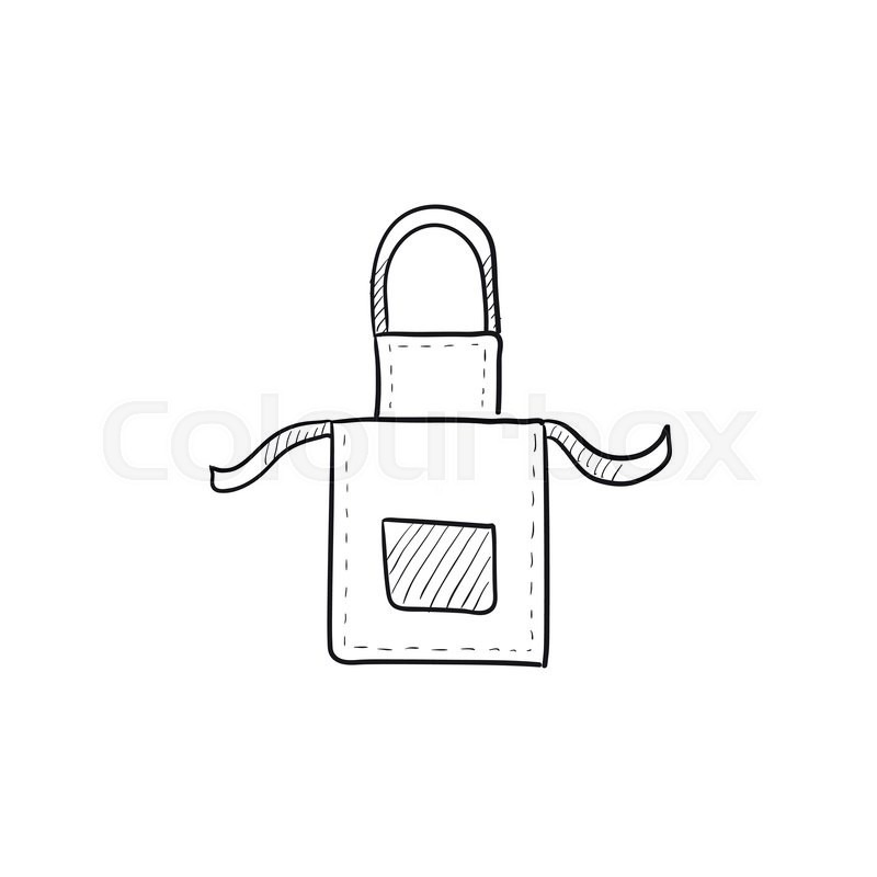 800x800 Kitchen Apron Vector Sketch Icon Isolated On Background. Hand