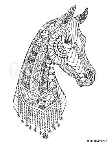 377x500 Arabian Horse Zentangle Stylized, Vector, Illustration, Freehand