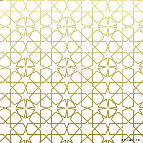 500x500 Arabic Pattern Gold Style. Traditional Arab East Geometric