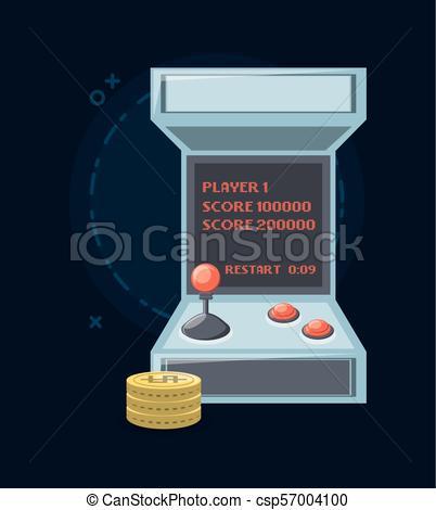 402x470 Arcade Machine Design. Video Game Arcade Machine And Coins Icon