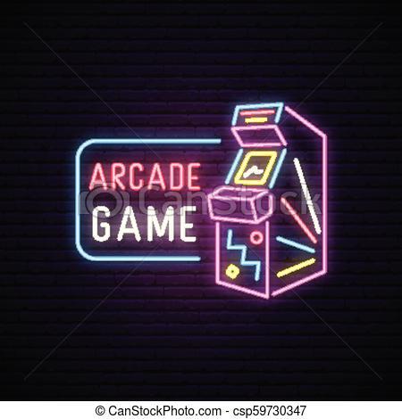 450x470 Neon Sign Of Arcade Game Machine. Neon Entertainment Emblem